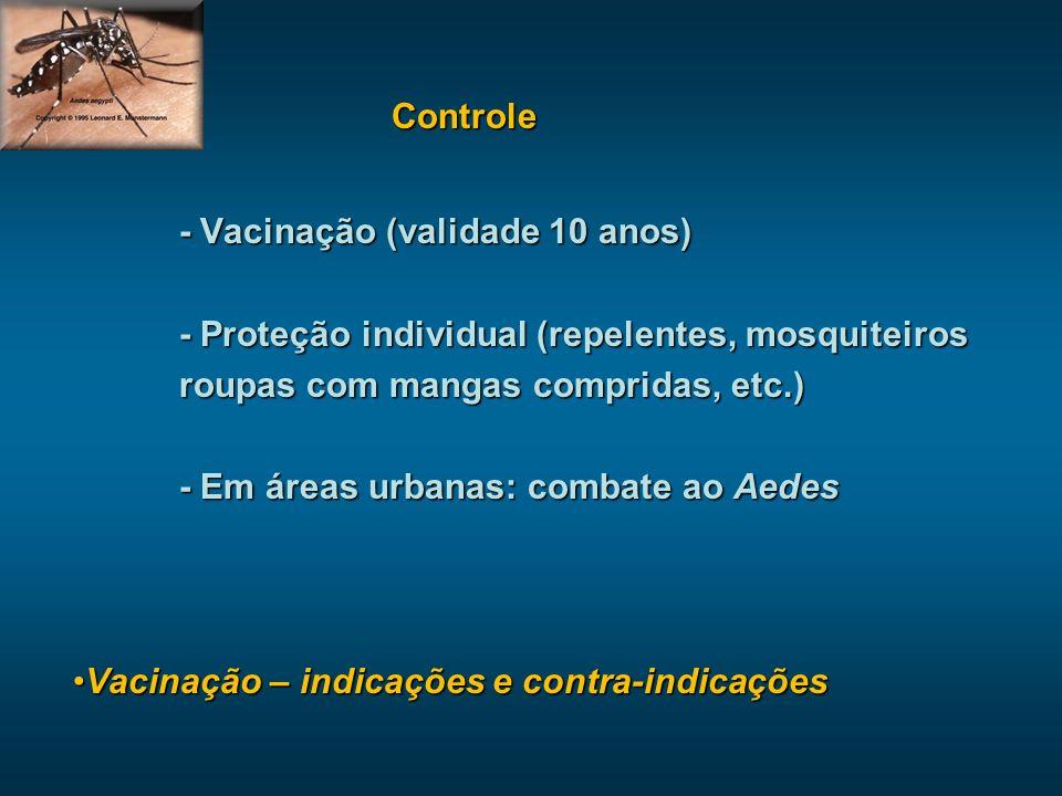 Controle - Vacinação (validade 10 anos) - Proteção individual (repelentes, mosquiteiros. roupas com mangas compridas, etc.)