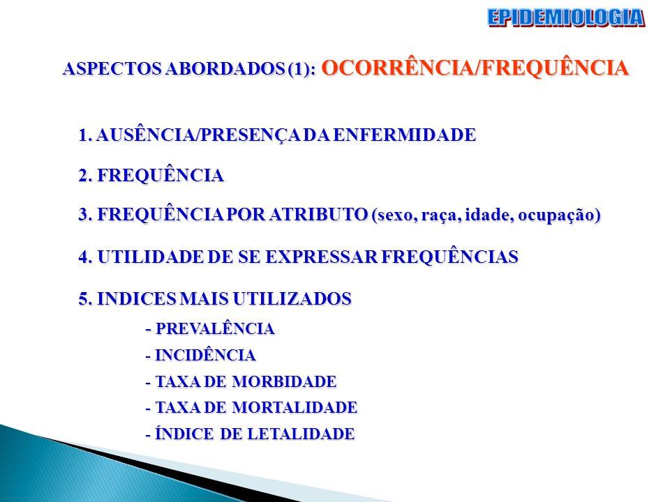 EPIDEMIOLOGIA ASPECTOS ABORDADOS (1): OCORRÊNCIA/FREQUÊNCIA