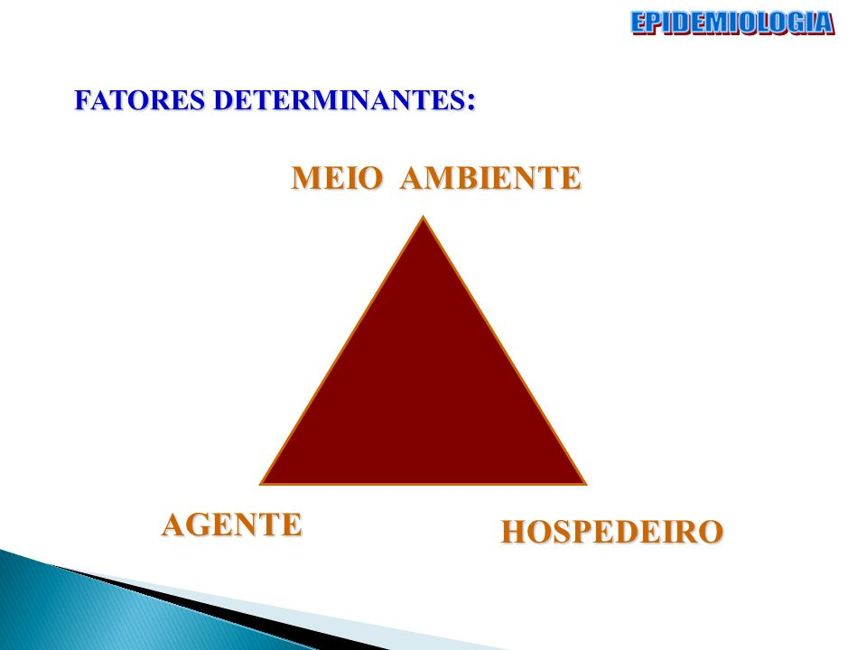 EPIDEMIOLOGIA FATORES DETERMINANTES: MEIO AMBIENTE AGENTE HOSPEDEIRO