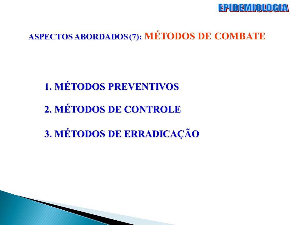 EPIDEMIOLOGIA 1. MÉTODOS PREVENTIVOS 2. MÉTODOS DE CONTROLE