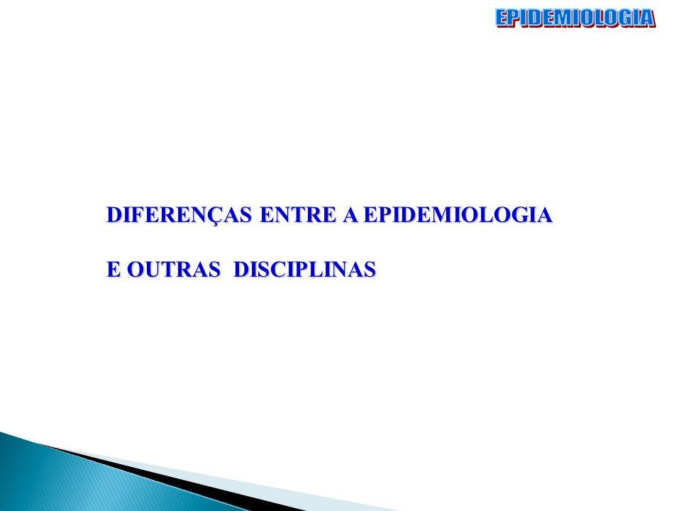 EPIDEMIOLOGIA DIFERENÇAS ENTRE A EPIDEMIOLOGIA E OUTRAS DISCIPLINAS