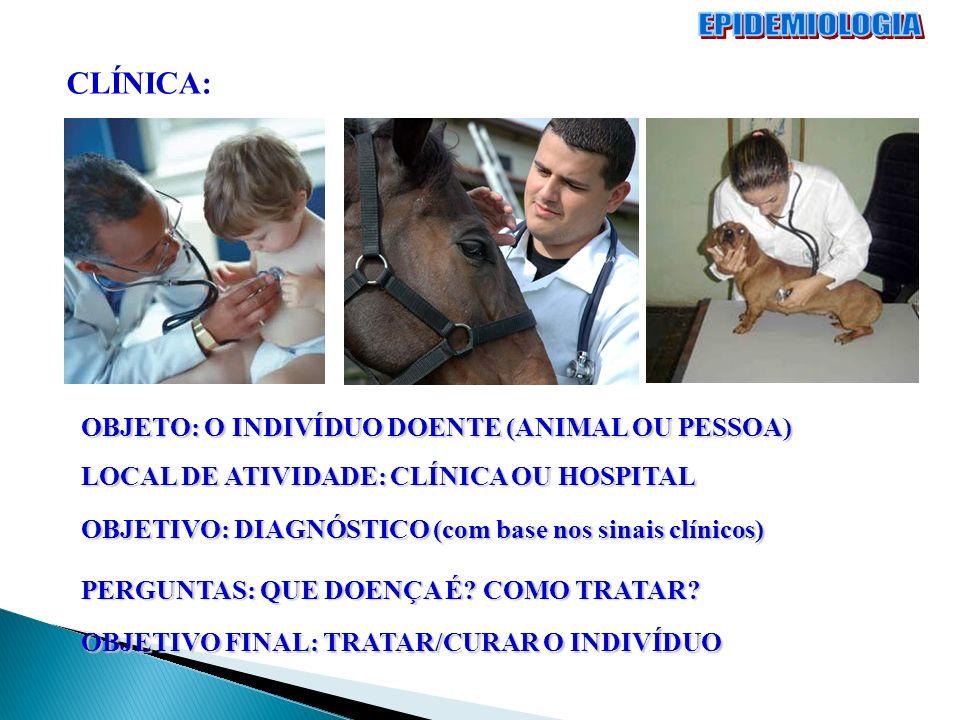 EPIDEMIOLOGIA CLÍNICA: OBJETO: O INDIVÍDUO DOENTE (ANIMAL OU PESSOA)