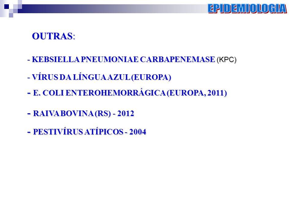 EPIDEMIOLOGIA OUTRAS: - E. COLI ENTEROHEMORRÁGICA (EUROPA, 2011)