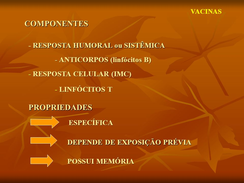 COMPONENTES PROPRIEDADES - RESPOSTA HUMORAL ou SISTÊMICA