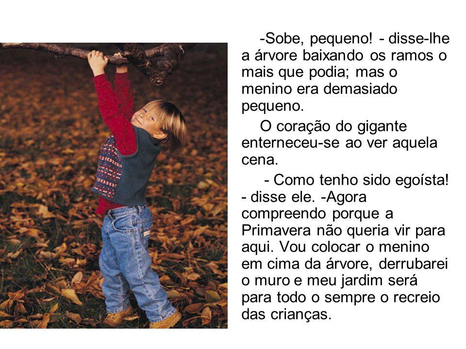 -Sobe, pequeno! - disse-lhe a árvore baixando os ramos o mais que podia; mas o menino era demasiado pequeno.