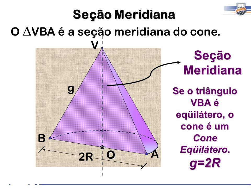 Se o triângulo VBA é eqüilátero, o cone é um Cone Eqüilátero.