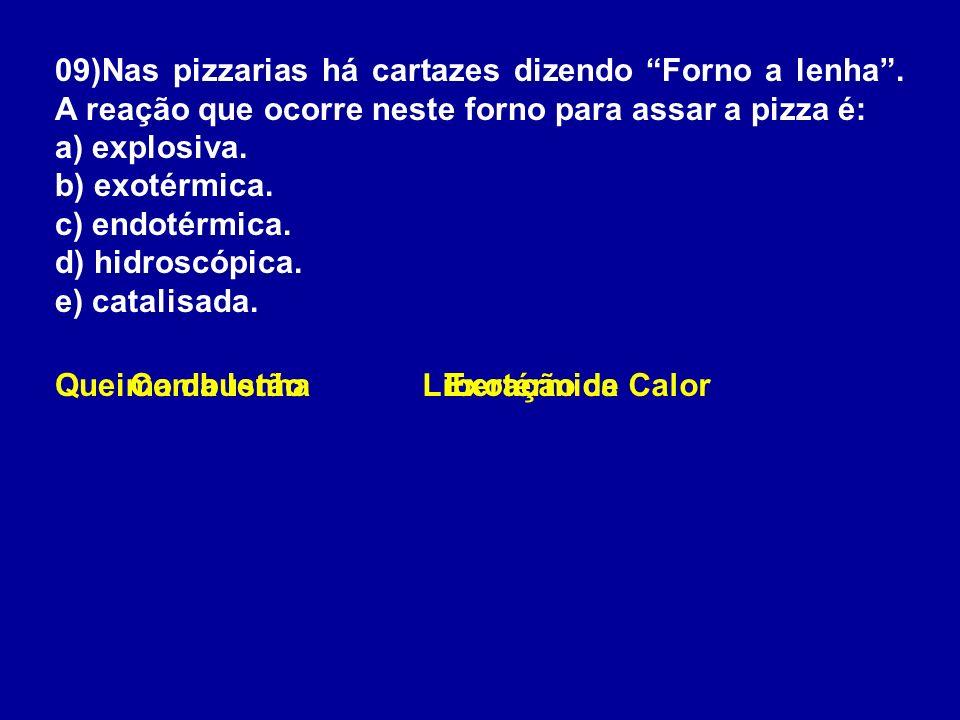 09)Nas pizzarias há cartazes dizendo Forno a lenha