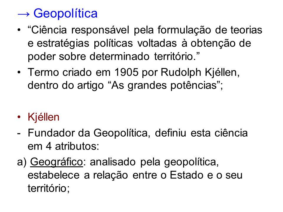 → Geopolítica Ciência responsável pela formulação de teorias e estratégias políticas voltadas à obtenção de poder sobre determinado território.