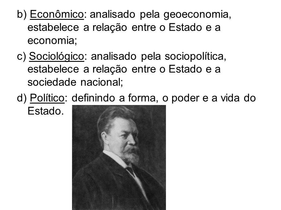 b) Econômico: analisado pela geoeconomia, estabelece a relação entre o Estado e a economia;