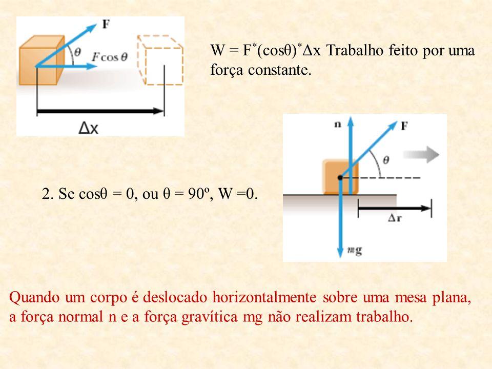 W = F*(cosθ)*Δx Trabalho feito por uma força constante.