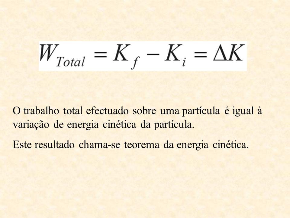 O trabalho total efectuado sobre uma partícula é igual à variação de energia cinética da partícula.