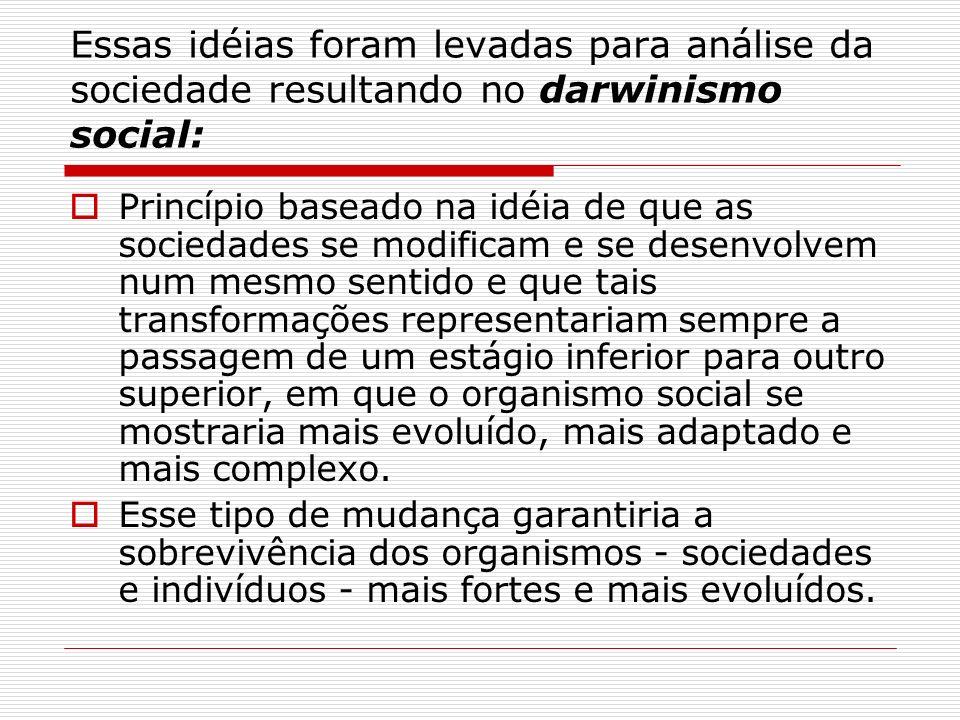 Essas idéias foram levadas para análise da sociedade resultando no darwinismo social: