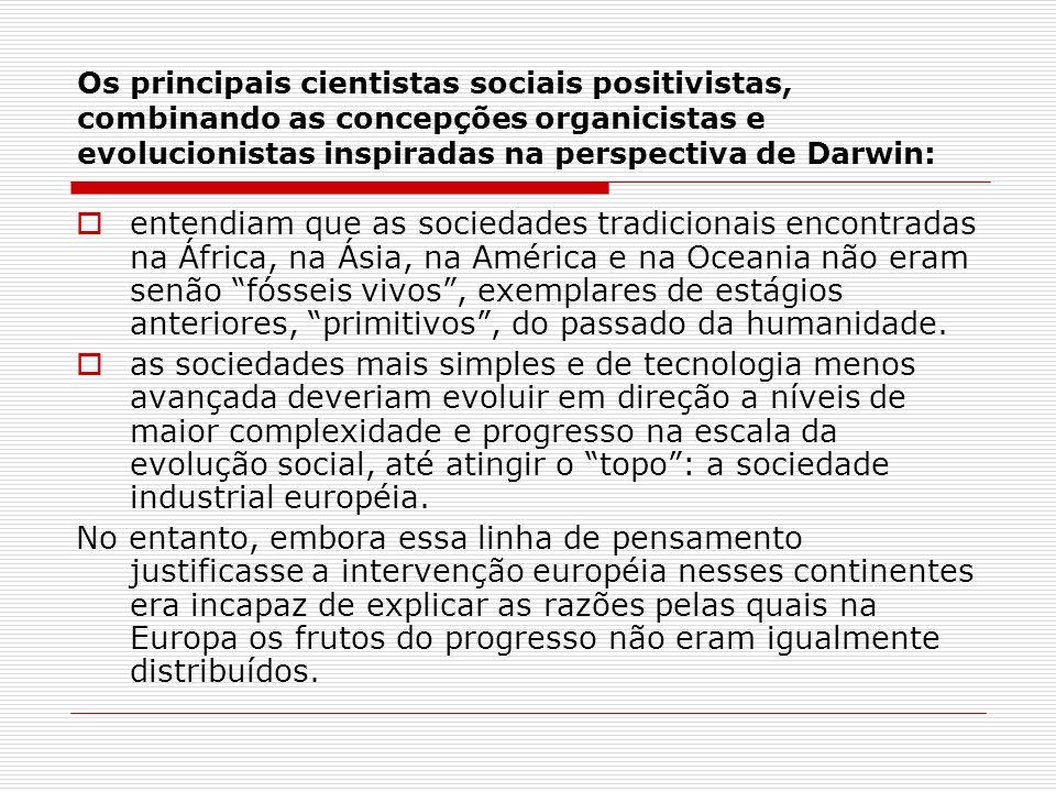 Os principais cientistas sociais positivistas, combinando as concepções organicistas e evolucionistas inspiradas na perspectiva de Darwin: