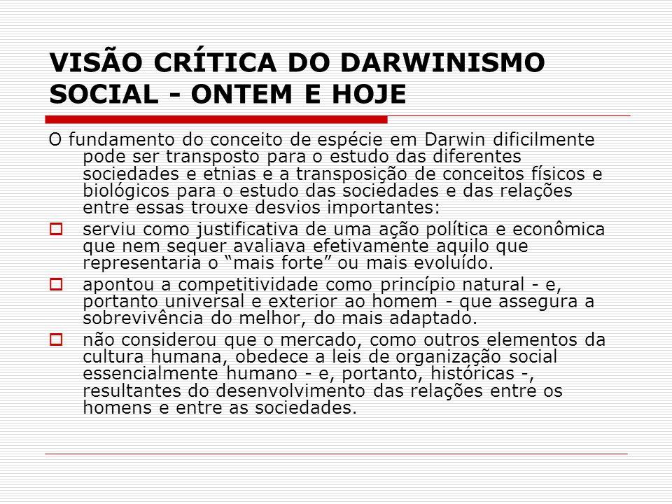 VISÃO CRÍTICA DO DARWINISMO SOCIAL - ONTEM E HOJE