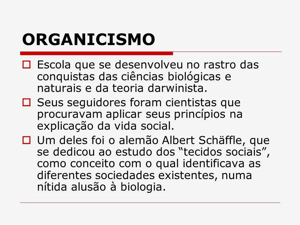 ORGANICISMO Escola que se desenvolveu no rastro das conquistas das ciências biológicas e naturais e da teoria darwinista.