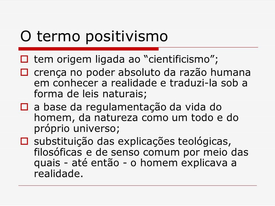 O termo positivismo tem origem ligada ao cientificismo ;