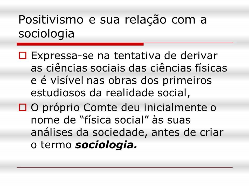 Positivismo e sua relação com a sociologia