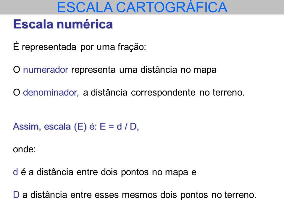 ESCALA CARTOGRÁFICA Escala numérica É representada por uma fração: