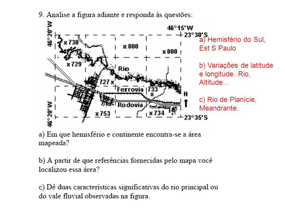 a) Hemisfério do Sul, Est S Paulo. b) Variações de latitude e longitude.