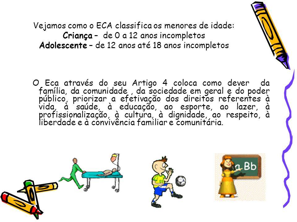 Vejamos como o ECA classifica os menores de idade: Criança – de 0 a 12 anos incompletos Adolescente – de 12 anos até 18 anos incompletos