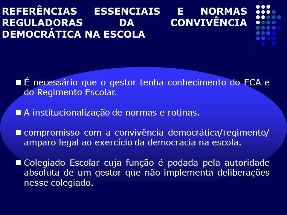 REFERÊNCIAS ESSENCIAIS E NORMAS REGULADORAS DA CONVIVÊNCIA DEMOCRÁTICA NA ESCOLA