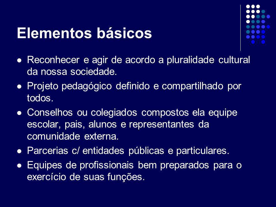 Elementos básicos Reconhecer e agir de acordo a pluralidade cultural da nossa sociedade. Projeto pedagógico definido e compartilhado por todos.