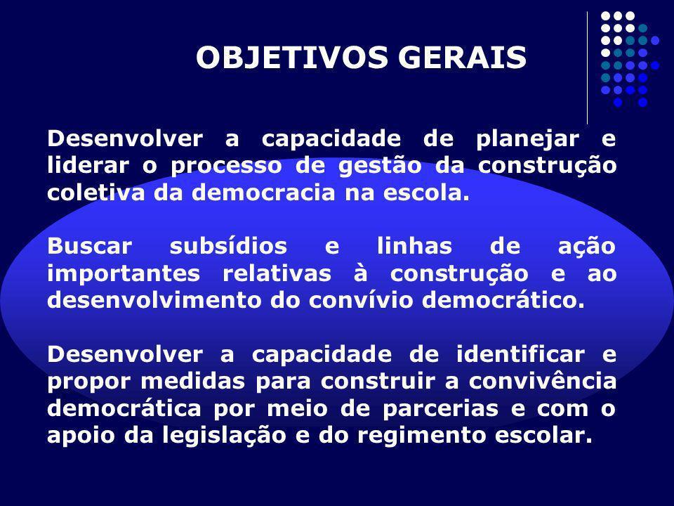 OBJETIVOS GERAIS Desenvolver a capacidade de planejar e liderar o processo de gestão da construção coletiva da democracia na escola.