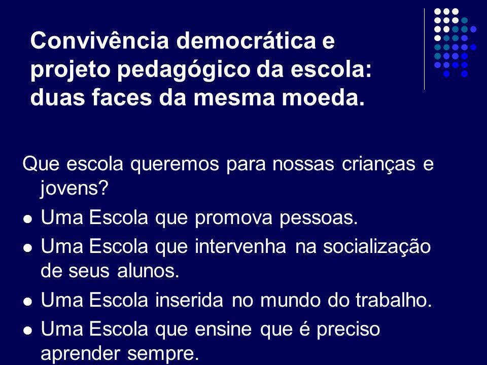 Convivência democrática e projeto pedagógico da escola: duas faces da mesma moeda.