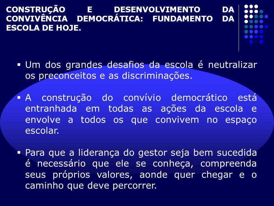 CONSTRUÇÃO E DESENVOLVIMENTO DA CONVIVÊNCIA DEMOCRÁTICA: FUNDAMENTO DA ESCOLA DE HOJE.