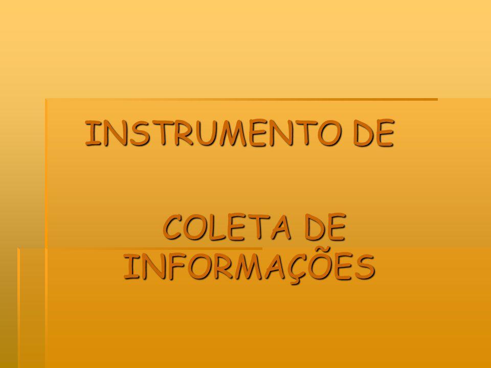 INSTRUMENTO DE COLETA DE INFORMAÇÕES