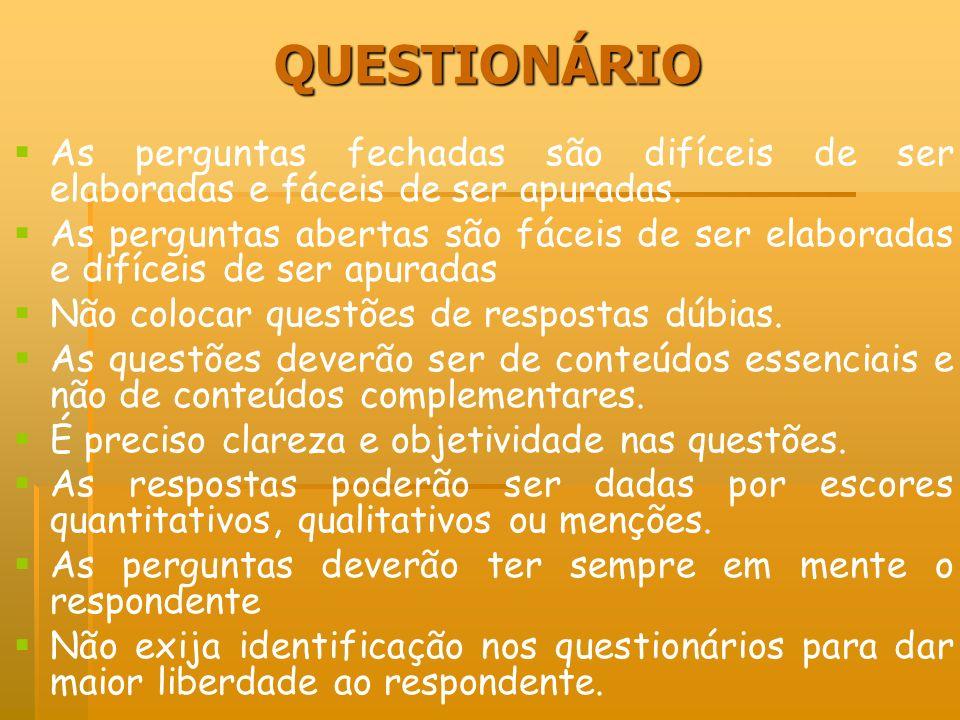 QUESTIONÁRIOAs perguntas fechadas são difíceis de ser elaboradas e fáceis de ser apuradas.