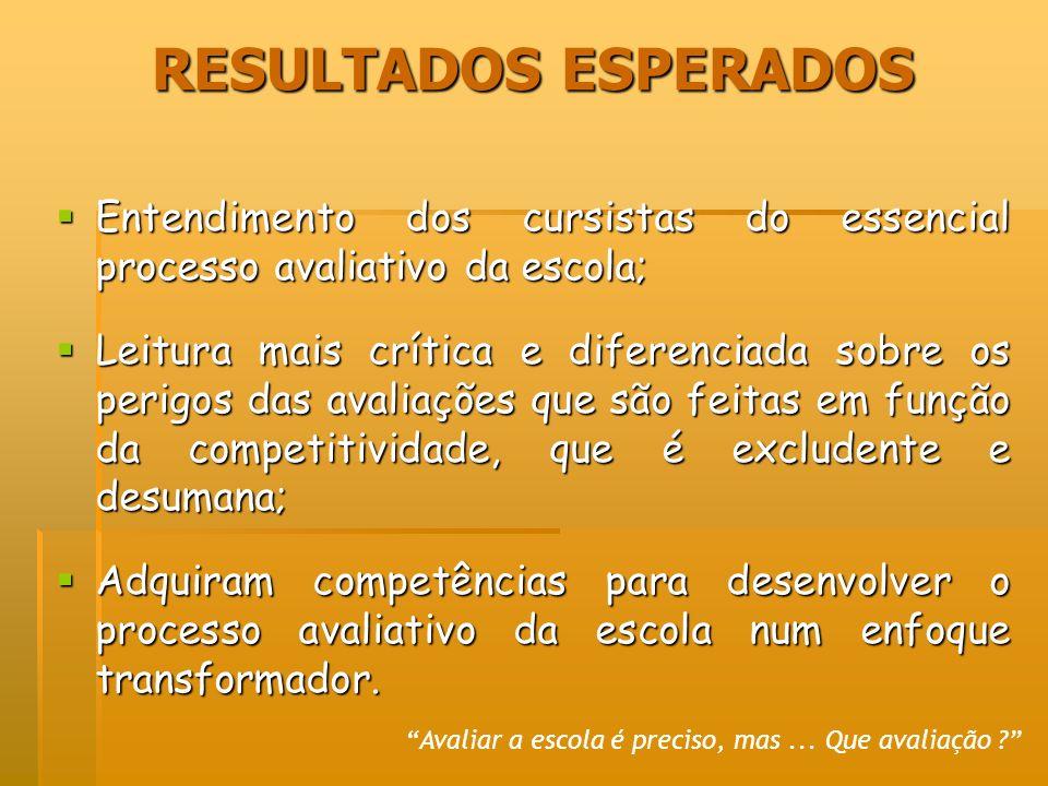 RESULTADOS ESPERADOS Entendimento dos cursistas do essencial processo avaliativo da escola;