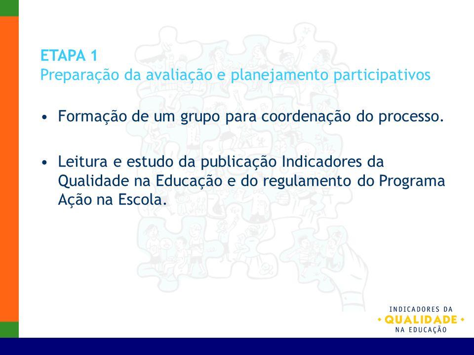 ETAPA 1 Preparação da avaliação e planejamento participativos. Formação de um grupo para coordenação do processo.