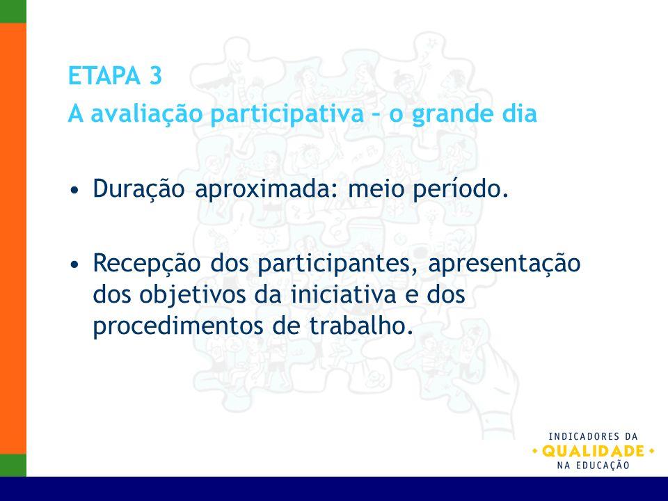 ETAPA 3 A avaliação participativa – o grande dia. Duração aproximada: meio período.