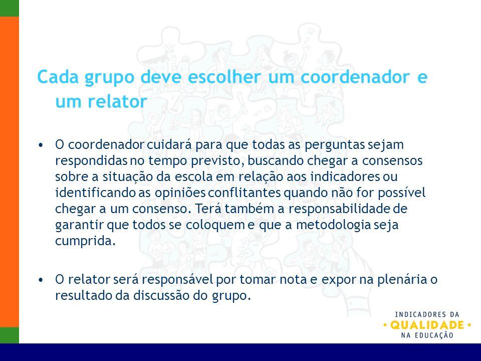 Cada grupo deve escolher um coordenador e um relator