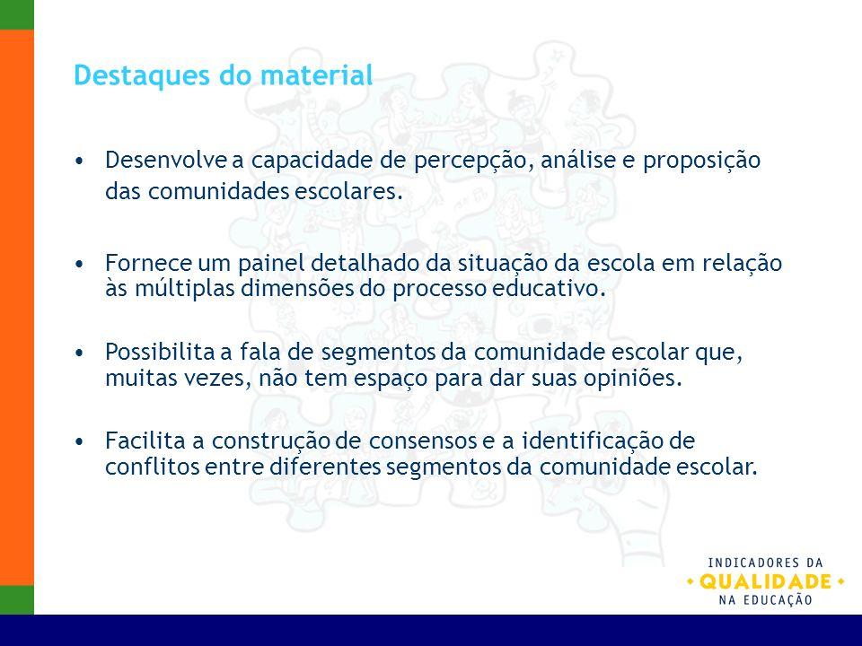 Destaques do materialDesenvolve a capacidade de percepção, análise e proposição das comunidades escolares.