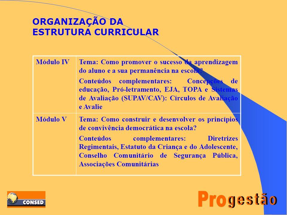 ORGANIZAÇÃO DA ESTRUTURA CURRICULAR