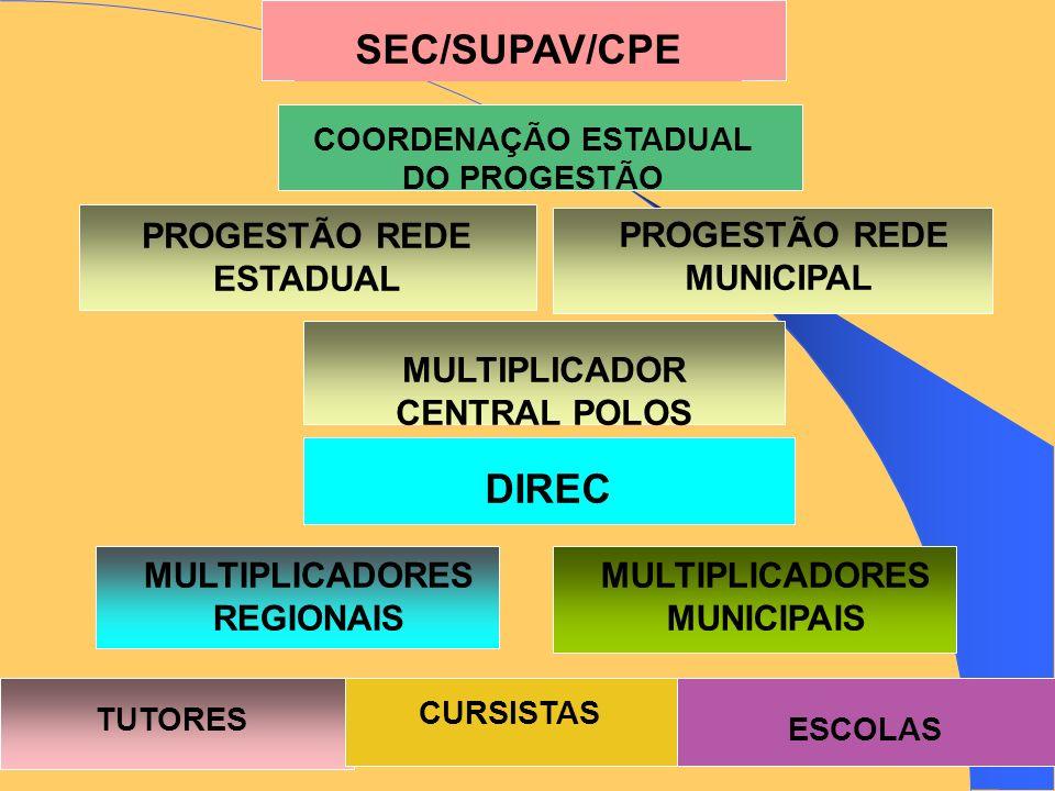 SEC/SUPAV/CPE DIREC PROGESTÃO REDE ESTADUAL PROGESTÃO REDE MUNICIPAL