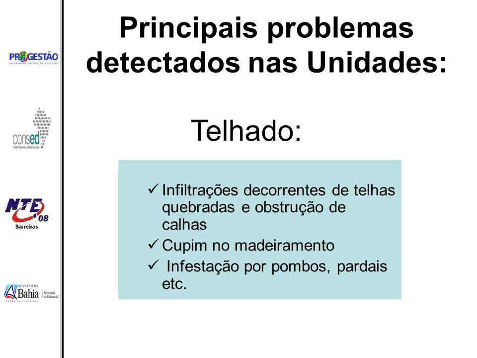 Principais problemas detectados nas Unidades: