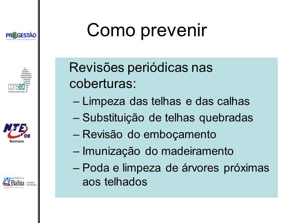 Como prevenir Revisões periódicas nas coberturas: