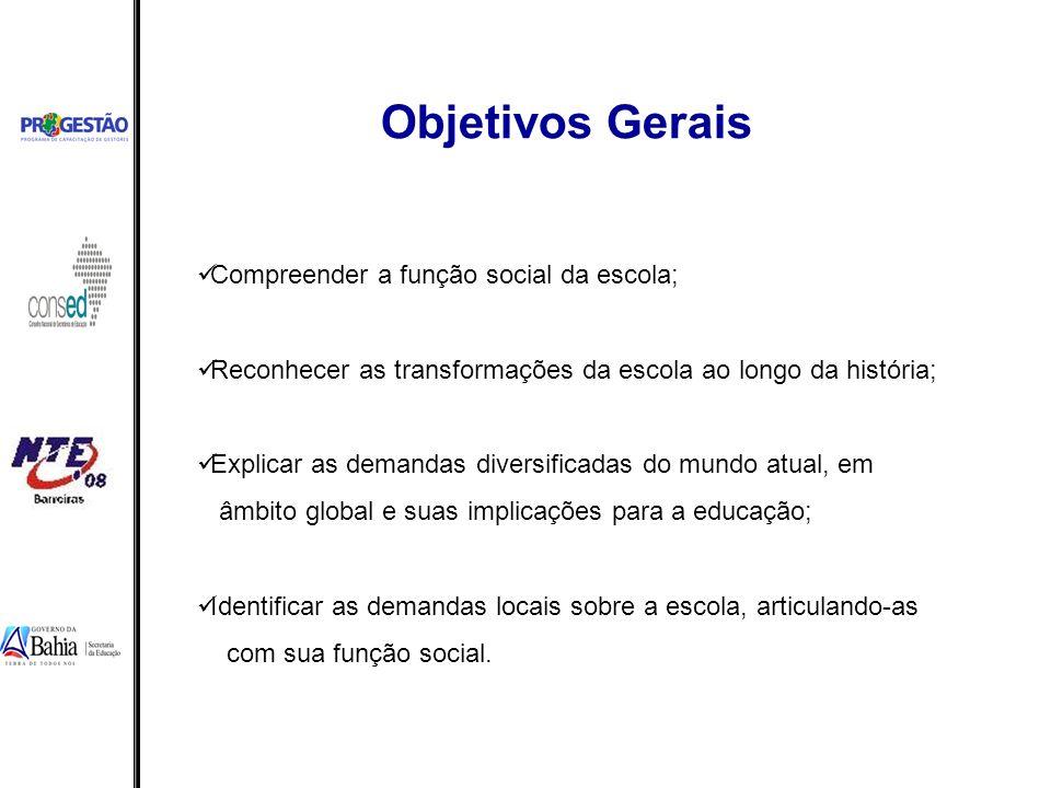 Objetivos Gerais Compreender a função social da escola;