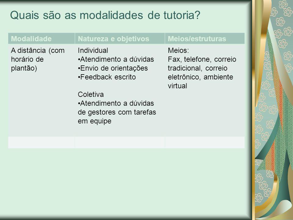 Quais são as modalidades de tutoria