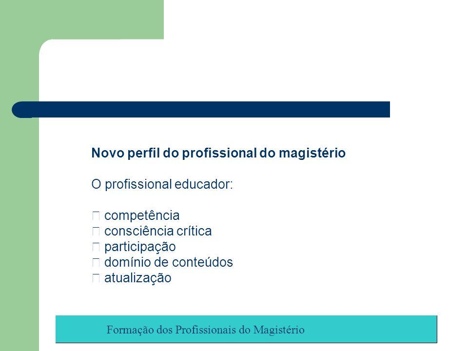 Novo perfil do profissional do magistério O profissional educador: