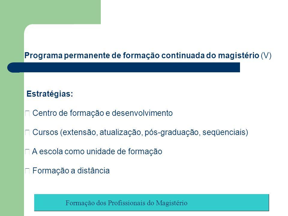 Programa permanente de formação continuada do magistério (V)