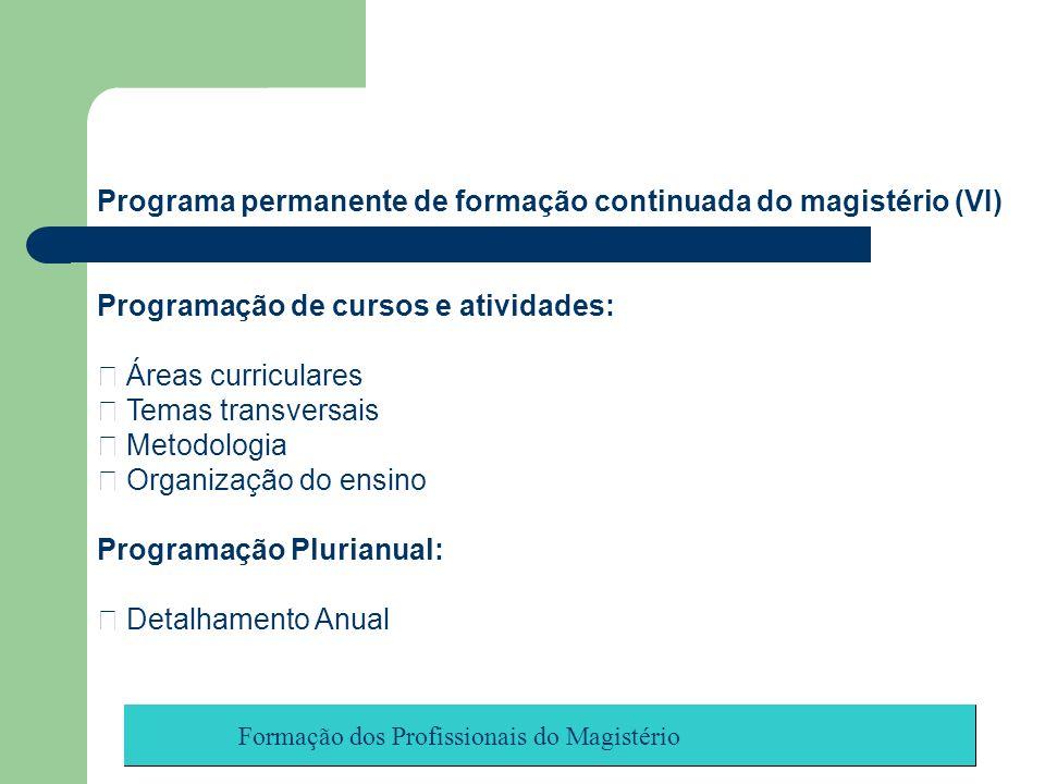 Programa permanente de formação continuada do magistério (VI)