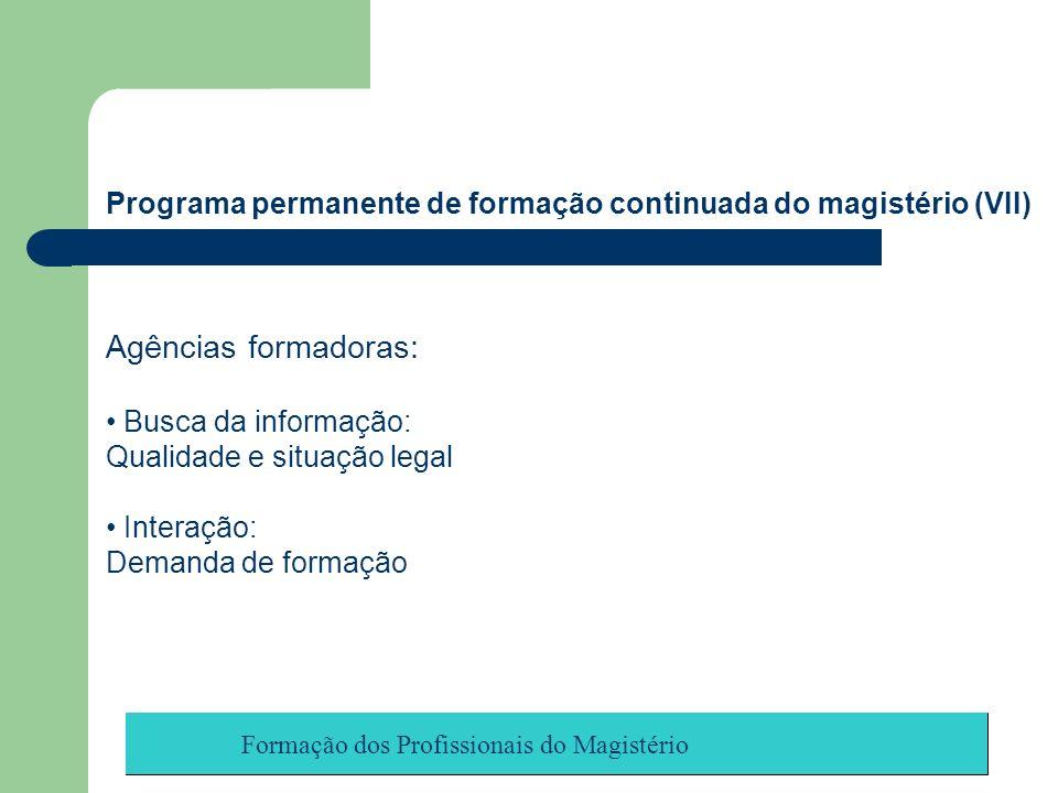 Programa permanente de formação continuada do magistério (VII)