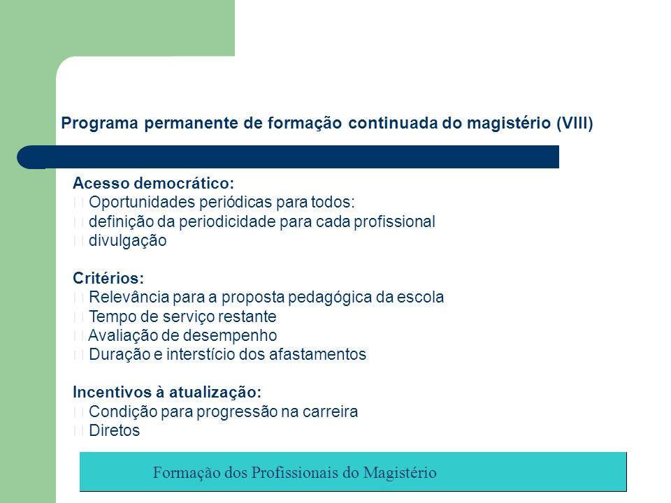 Programa permanente de formação continuada do magistério (VIII)