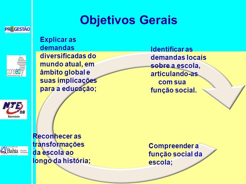 Objetivos Gerais Explicar as demandas diversificadas do mundo atual, em âmbito global e suas implicações para a educação;