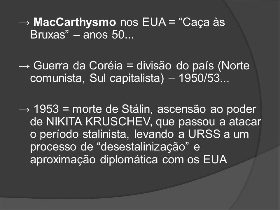 → MacCarthysmo nos EUA = Caça às Bruxas – anos 50