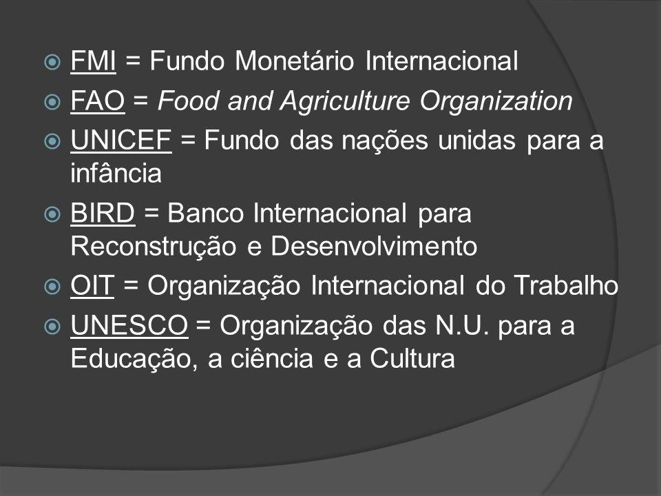 FMI = Fundo Monetário Internacional
